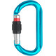 AustriAlpin Ovalo GI Screwgate Carabiner with Visual Safety Band azure anodized